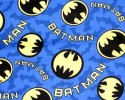 Batman symbols and words on Blue background with Bats